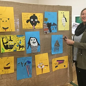 20180224 Michelle Noyce hangs grade2 art